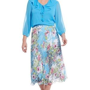 ALLISON DALEY | 20 | Blue Florals Pull-on Skirt